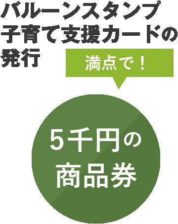 バルーンスタンプ子育て支援カードの発行 満点で!5千円の商品券
